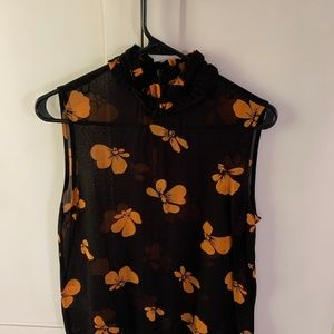 Ganni sleeveless, sheer shirt sz 36